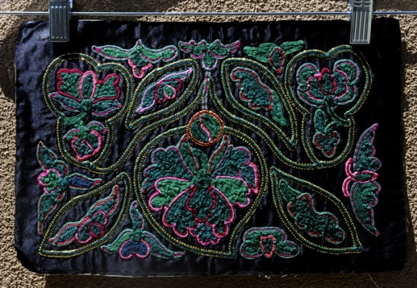 Chinese Black Panel Embroidered Art