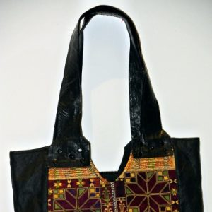 Afghani Ghazani Kilim Hand Embroidered Vintage Leather Purse