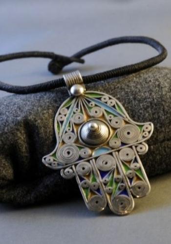 Moroccan Silver and Enamel Khamsa
