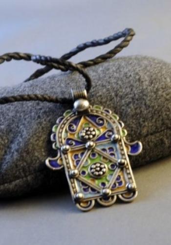 Moroccan Silver and Enamel Khamsa (2)