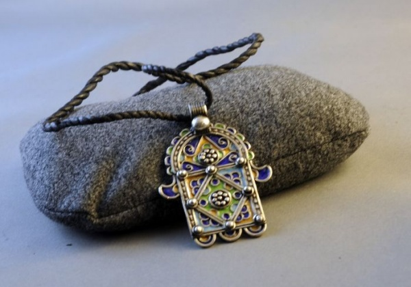 Moroccan Silver and Enamel Khamsa Necklace