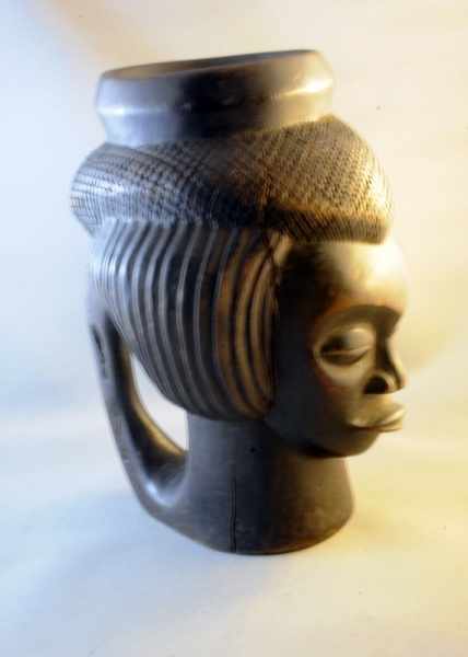 Carved Wooden Figural Kuba Cup