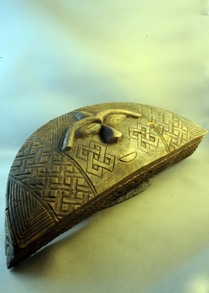 Carved Tchokwe Semicircular Box