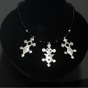 Nigerian Touareg Silver and Onyx Cross Necklace