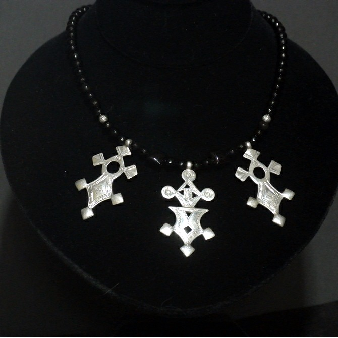 Fine Silver & Faceted Onyx Bead Tuareg Crosses Necklace