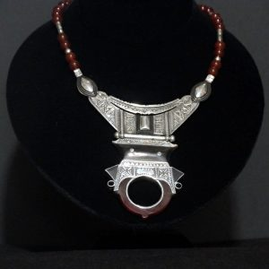Nigerian Touareg Hand Engraved Silver Carnelian and Ebony Necklace