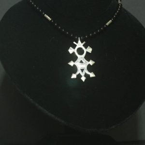 Nigerian Touareg Onyx and Silver Cross Pendant