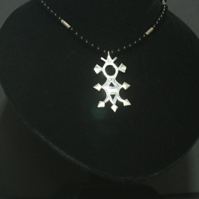 Nigerian Touareg Onyx and Silver Cross Pendant