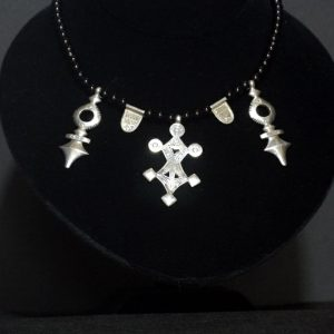 Nigerian Touareg Silver and Onyx Triple Cross Necklace