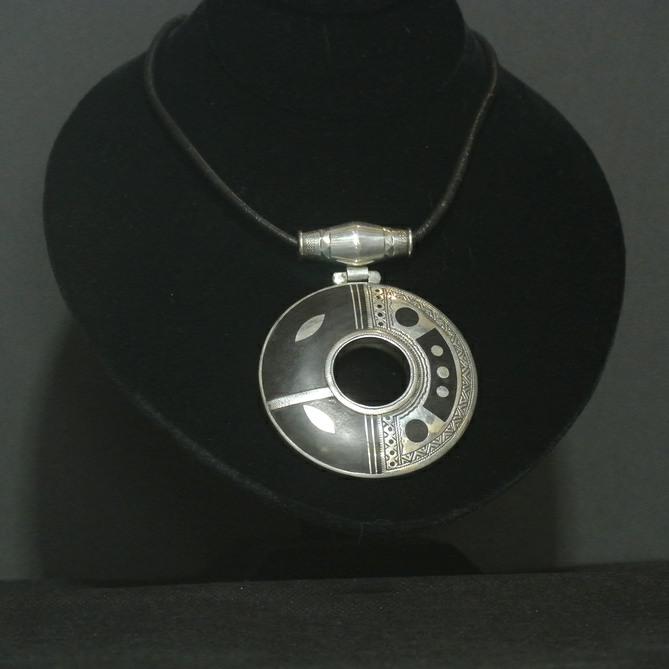 Nigerian Touareg Ebony and Silver Circular Pendant