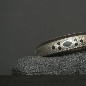 Nigerian Touareg Ebony and Silver Hand Engraved Cuff