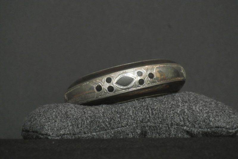 Nigerian Touareg Ebony and Silver Hand Engraved Cuff