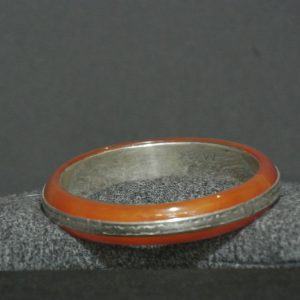 Nigerian Touareg Handmade Carnelian and Silver Bangle Bracelet