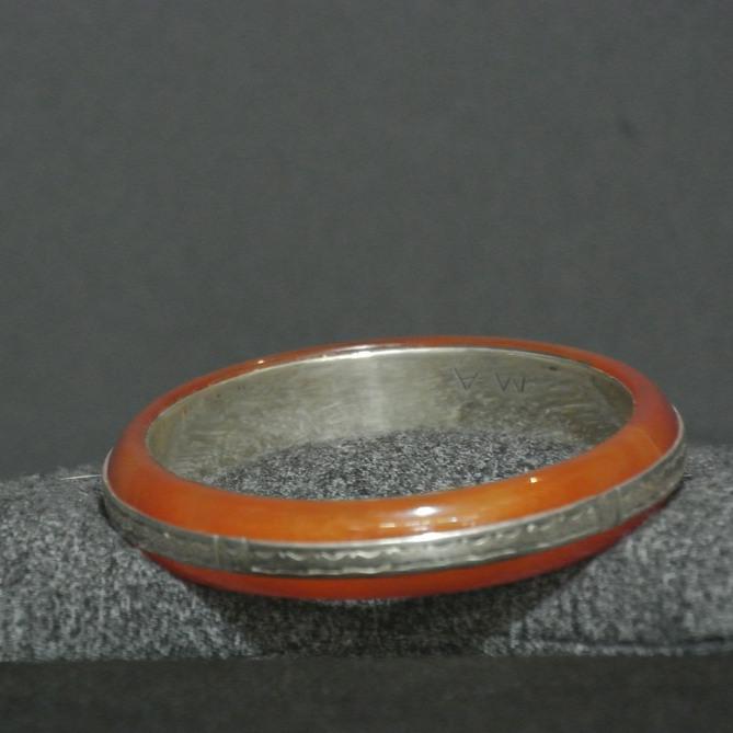 Carnelian & Fine Silver Tuareg Bangle Bracelet