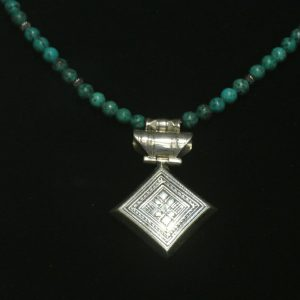 Nigerian Silver and Turquoise Tuareg Necklace