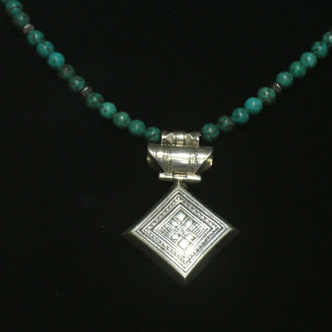 Diamond Shaped Fine Silver & Turquoise Necklace