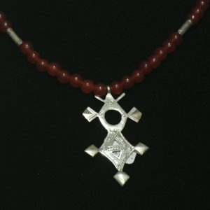 Nigerian Silver Carnelian Touareg Cross Necklace
