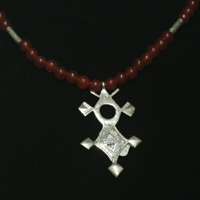 Carnelian & Fine Silver Tuareg Cross Necklace