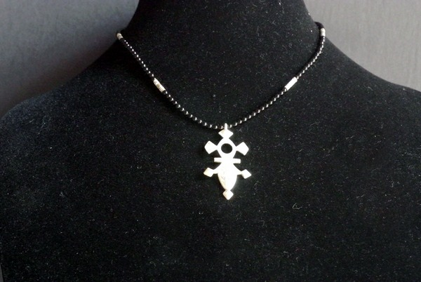 Nigerian Touareg Onyx and Silver Cross Necklace
